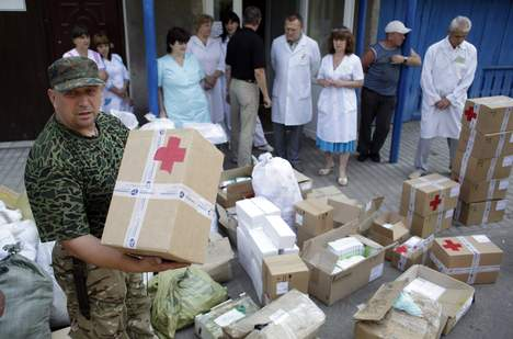 Supply of medicines in Popasna, Lugansk oblast. ©AFP