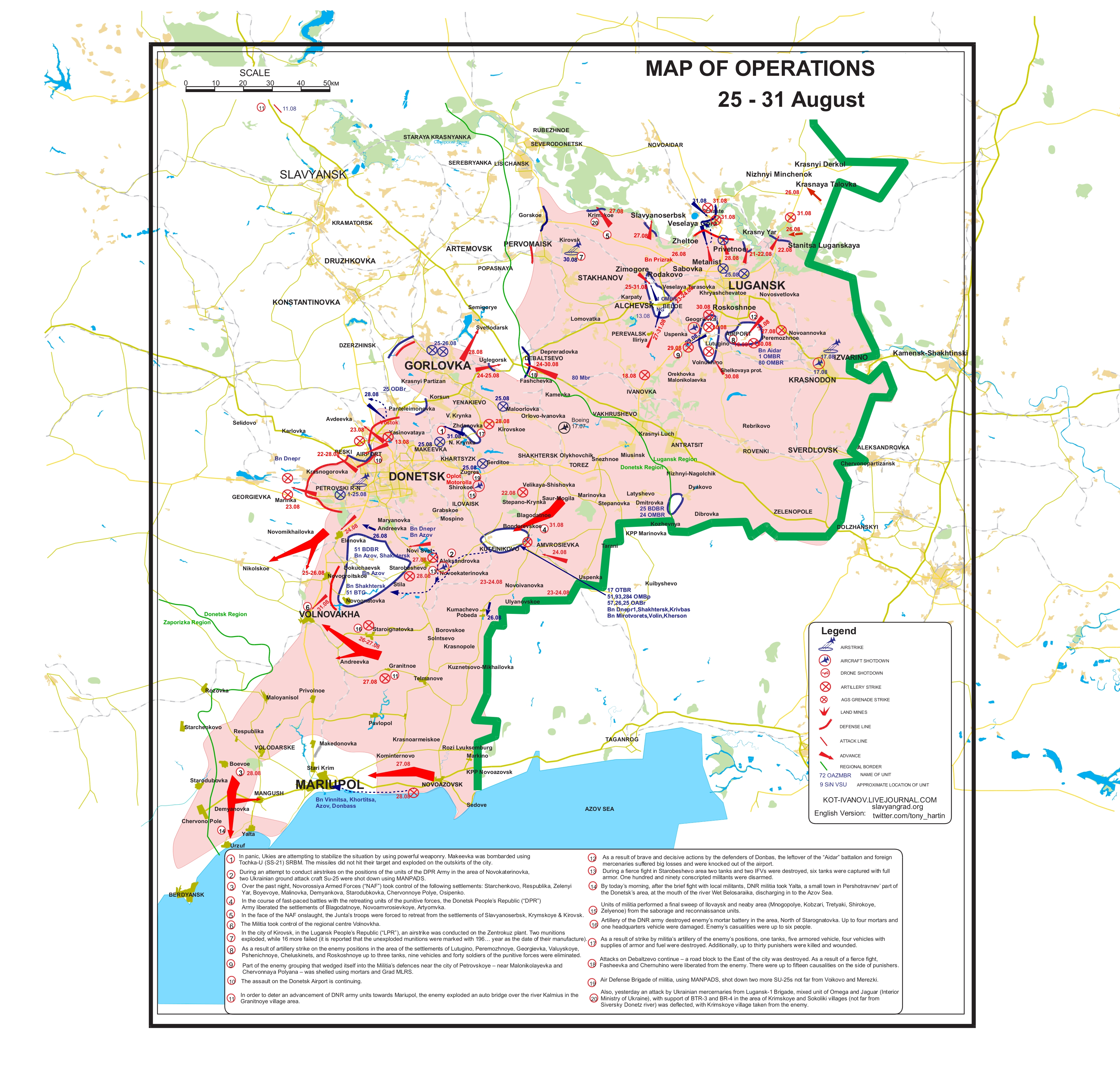 donbas karta Map of Hostilities – 31/08/2014 | SLAVYANGRAD.org donbas karta